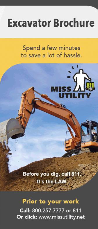 Image of the Miss Utility Excavator Brochure